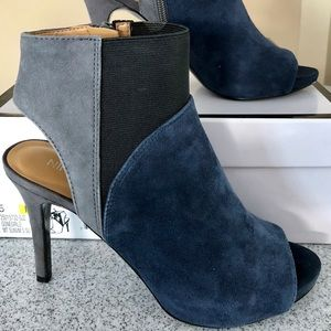 Nine West color block open toe bootie.